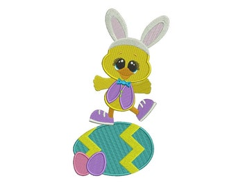 Cute Chick on Easter Egg Filled Machine Embroidery Digitized  Design Pattern - Instant Download - 4x4, 5x7, 6x10