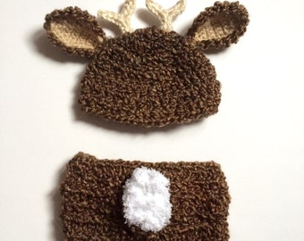 Newborn deer hat and diaper cover set