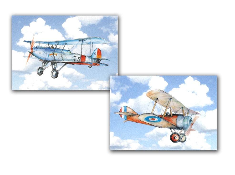 Vintage airplane nursery decor Airplanes flying in sky print