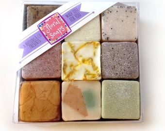 Floral Soaps Gift Set - Unique Gift for Women - Nine Happy Handmade Soaps in a Gift Box