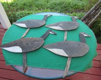 4 Vintage FOLK ART Handmade Wood Goose Decoys Decoy 1940's