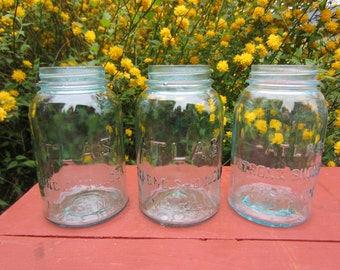 3 Vintage Atlas Strong Shoulder Blue Mason Canning Jars Quart Size