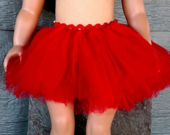 "Ballet Tutu for American Girl Doll/AG Doll/18"" Doll- Red Tulle Tutu"