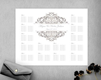 Silver Wedding Seating Chart Template, Seating Plan, DIY Seating Chart, Wedidng Sign, 16x20 Seating Poster, Instant Download, Guest List