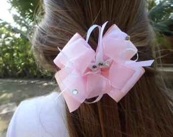 Pink Princess hair bow headpiece