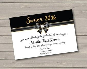 Black & Gold Graduation Party Invitation