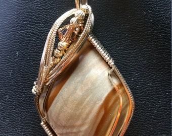Strawberry Hill jasper pendant necklace in 14K gold filled wire