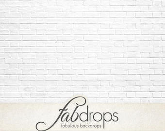 5x5 Whiteout Brick Wall Backdrop / Stark brick wall Photography backdrop - Fab Vinyl 5x5 ft (FV0911)