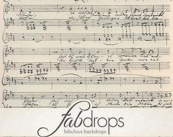5x5 Sheet Music Vintage Photography backdrop - Fab Vinyl 5x5 ft (FV6020)