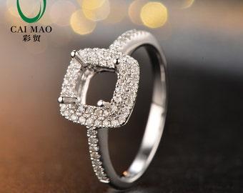 New 5x5mm Princess Cut 14K White Gold Engagement Semi Mount Diamond Ring