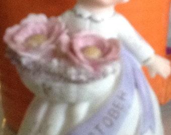 Vintage Girl Figurine Miss October Lefton?