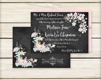 Chalkboard Wedding Invitation – Elegant Chalkboard Flowers – Rustic Invitation – 3 pc including RSVP and Info Cards