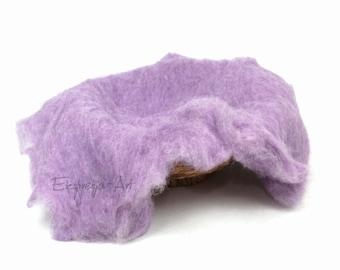 Wool cloud, LAVENDER, filling the baskets, newborn photo prop, woolen fluff