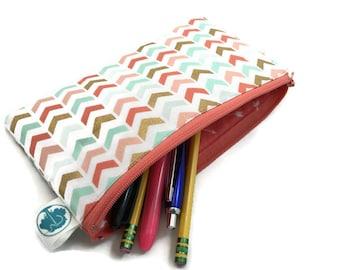 Pencil Pouch Wallet Makeup Bag in Metallic Chevron