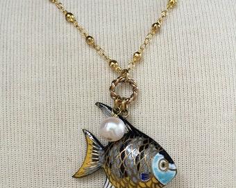 Cloisonne Fish Charm Necklace