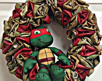 Teenage Mutant Ninja Turtle TMNT Raphael Balloon Party Wreath