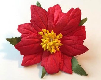 Handmade Paper/Parchment Poinsettia - Red with Gold Center - 25 per bag