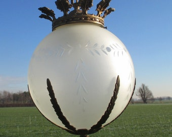 Vintage French Etched Glass Chandelier Pendant Ball Lamp Brass Ornate Beautiful