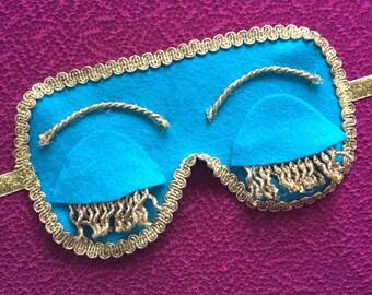 Audrey Hepburn Breakfast at Tiffany's sleeping mask turquoise felt / gold / party / carnival / birthday party / sleepiver / pyjama party