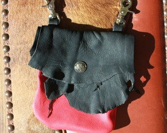 Rustic Deerskin Belt Loop Hip Bag, Black and Red