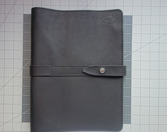 BLACK Leather Portfolio handmade in my studio. (READY to ship) Corporate gifts  made easy. Christmas,graduation.