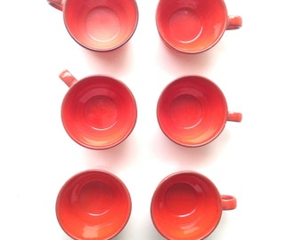 Coffee cups / Coffee Mugs / Set of Six / Red vintage servingware