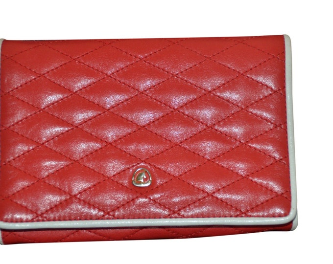 Estate Vintage Quilted Cherry Red Leather with White Trim Crown Lewis Shoulder Bag Clutch
