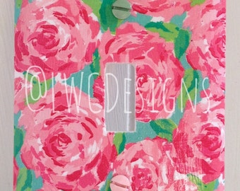 Lilly Pulitzer Inspired Light Switch Plate Cover in Hotty Pink First Impression Print