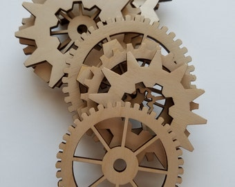 Set Of 24 Laser Cut Steam Punk Style Wooden Gear Variety Pack