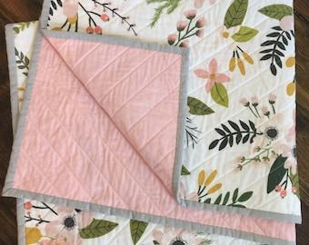 Spring floral, modern quilt, baby quilt, nursery, bedding, blanket