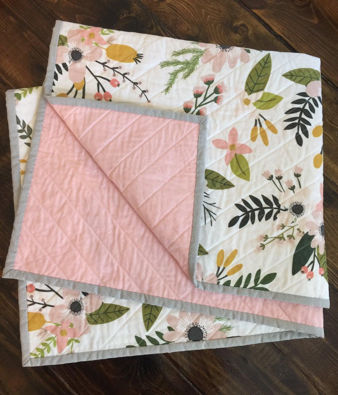 Spring Floral Modern Quilt Baby Quilt Nursery Bedding