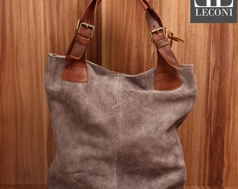 LECONI-LAN bag of shopper bag leather bag lady bag soft Sueded leather suede grey LE0033-VL