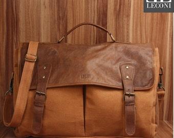 LECONI Messenger bag DIN A4 Messenger bag shoulder bag leather canvas cognac LE3018-C