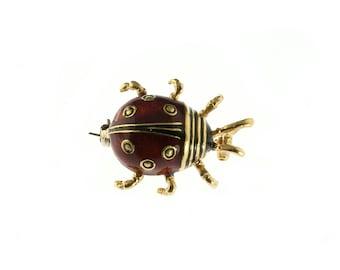 14K Yellow Gold Enamel Ladybug Pin