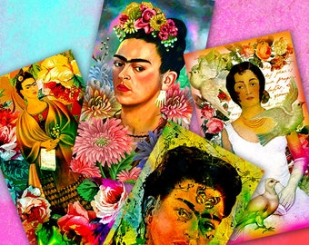 FRIDA KAHLO - Part 1 Digital Collage Sheet Printable Download Gift tags Greeting cards Vintage Paper Craft