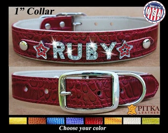 Designer Dog Collars - Custom Leather Dog Collars - Rhinestone Dog Collars Personalized - Bling Dog Collar with name - USA made Dog Collars
