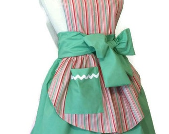 Womens Retro Pinup Pin Up 50s Diner Cute Kawaii Apron Candy Stripe Cotton Fabric Pink Red Pastel Mint Green White Womens Medium