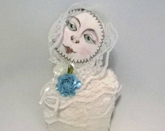 Fabric Doll Cloth Art Doll primitive doll Lace Belle Pin Cushion Small Doll
