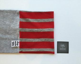 Baby Infinity scarf - Toddler scarf bib - warm red & grey stripe