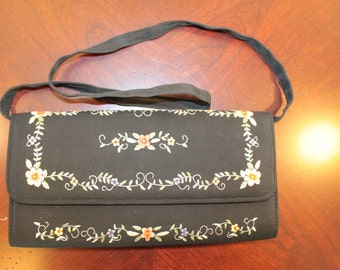 Black Silk Clutch with Handle – Embroidered Flowers in Shades of Coral, Yellow, Blue and Green – Unsigned