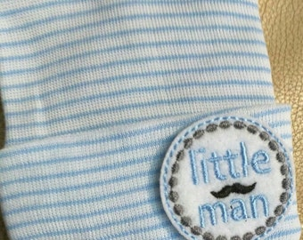 EXCluSIVe! Newborn Hospital Hat. Baby Boy LITTLE Mustache MAN Newborn Beanie. Every New Baby Boy Should Have! CuTe!