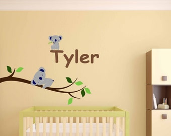 Removable Koala Bear wall decal on branch, Nursery Wall Decals - Kids Custom Name Peel &Stick Fabric, Repositionable