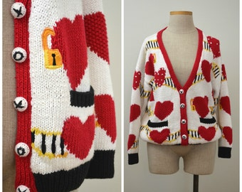 XOXOX   Vintage 90s Red Heart Novelty Cardigan   1990s Hand-Knit Sweater