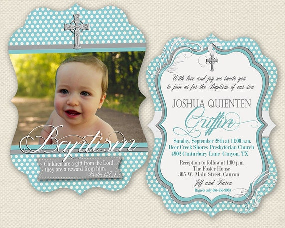 Baptism invitation christening invitation baby christening like this item stopboris Image collections