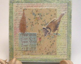 Bird Collage, One Of A Kind, Handmade, Found Objects, Leaf, Flowers, Script