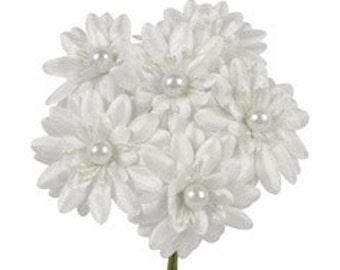 6 Pcs Daisy White Fabric Flower Bouquet Flowers Supplies Wedding Artificial Flower Silk Flower Gerbera Daisy