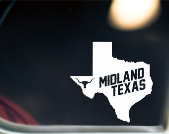 Midland Texas State Sticker For Car Window, Bumper, Or Laptop