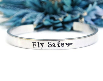 Fly Safe Hand Stamped Cuff Bracelet | Airplane Jewelry | Flight Attendant Gifts | Aluminum Jewelry | Gifts For Pilots | Travel Gifts