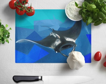 Manta Ray Glass Chopping board 200 x 285mm - Or send us your Own Photo to print!!