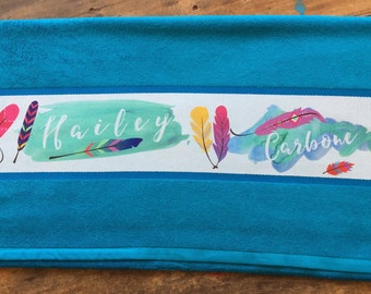 Personalised Feather Design Towel with Name of choice Aqua